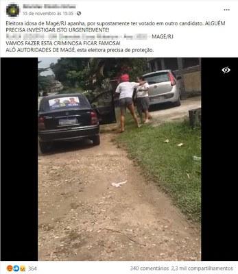 Vídeo de idosa agredida em Magé (RJ) não está relacionado à votação do 1º turno das Eleições 2020
