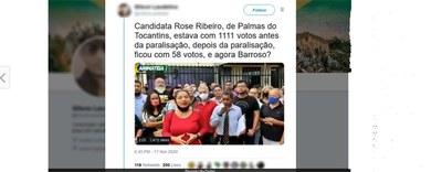 Vídeo faz alegação falsa sobre redução de votos de candidata em Palmas (TO)